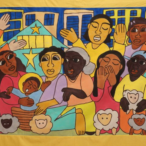 A Child Is Born Nativity painting, wall-hanging, backdrop