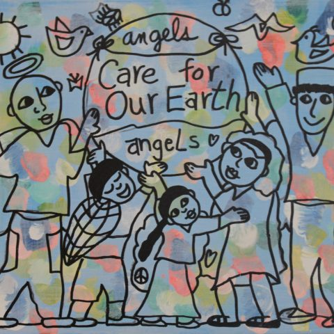 Angels Care for Our Earth painting/wall hanging