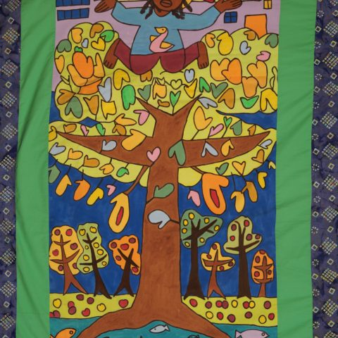 Child of Justice tablecloth, painting, wall-hanging, backdrop