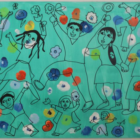 Children in the Garden painting/wall hanging
