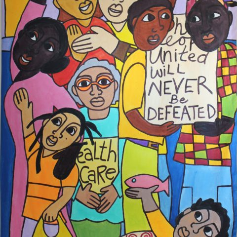 People United painting/wall-hanging, tablecloth/backdrop